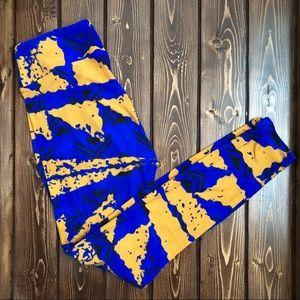 LuLaRoe Blue and Tan Print Leggings OS